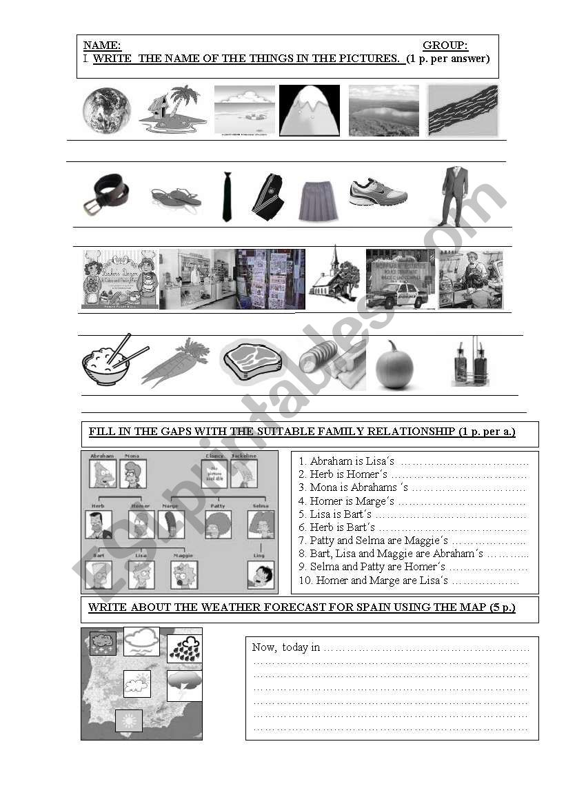 Vocabulary Pictorial Test worksheet