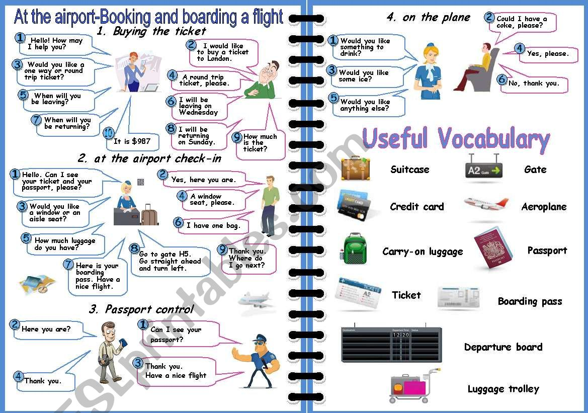 Airport: How to book and board a flight (2 PAGES)