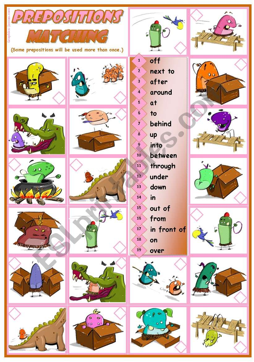 Prepositions Practice - reading • grammar • 3 tasks • 2 pages • editable