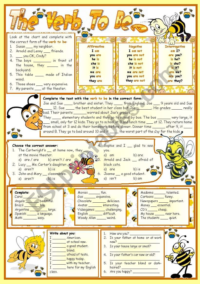 The verb to be-e – reading • grammar • chart • exercises • 6 tasks • B&W version • teacher's printable with keys • 3 pages • editable