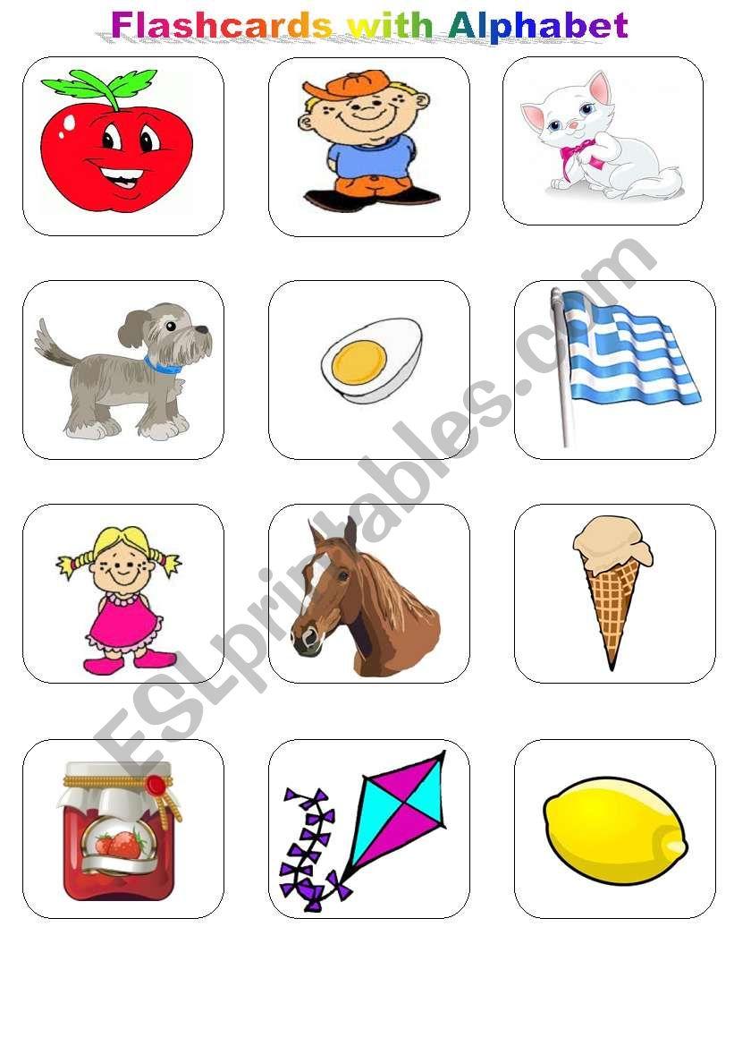 Flashcards with Alphabet worksheet