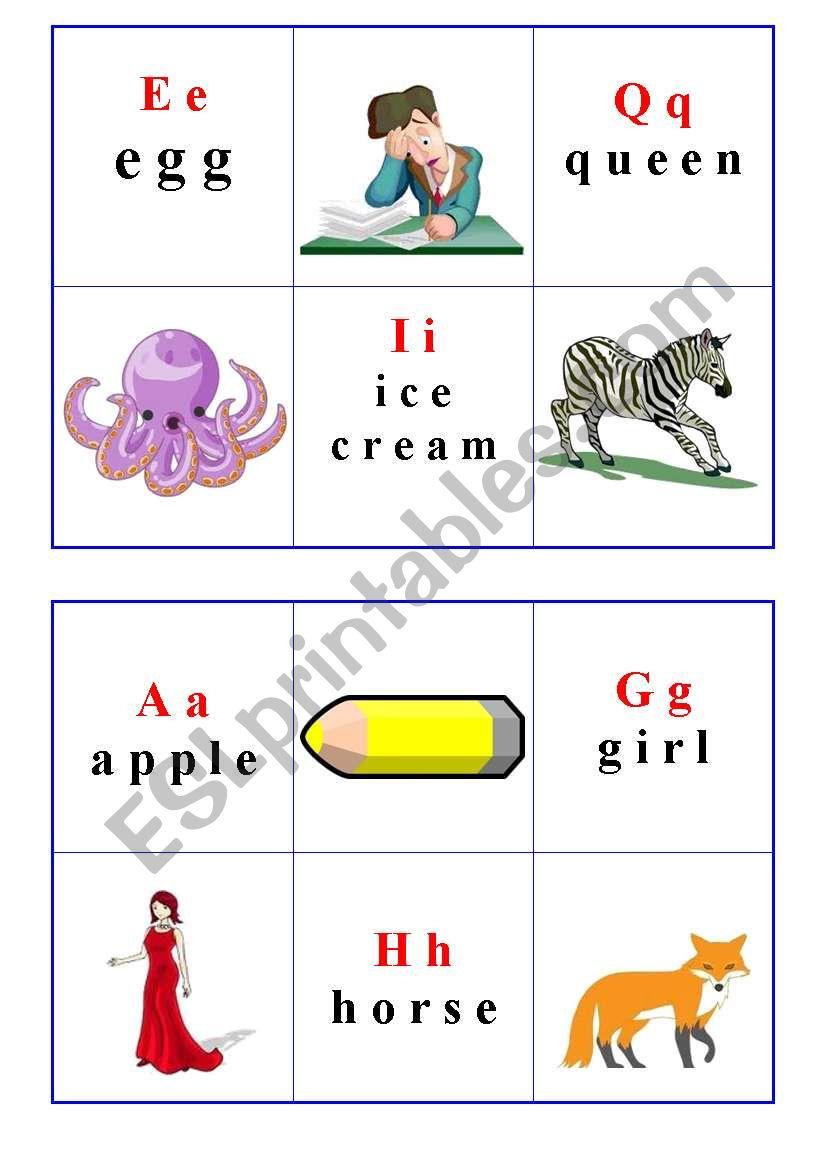Bingo Alphabet cards worksheet