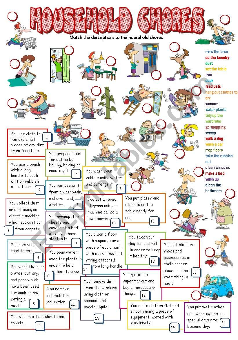 HOUSEHOLD CHORES (B&W + KEY) worksheet