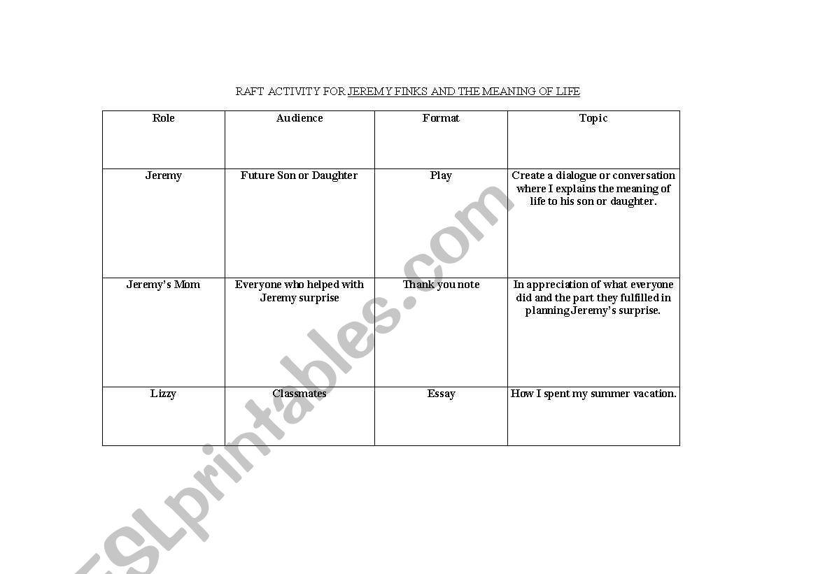 English Worksheets Jeremy Fink Raft Activity [ 821 x 1169 Pixel ]