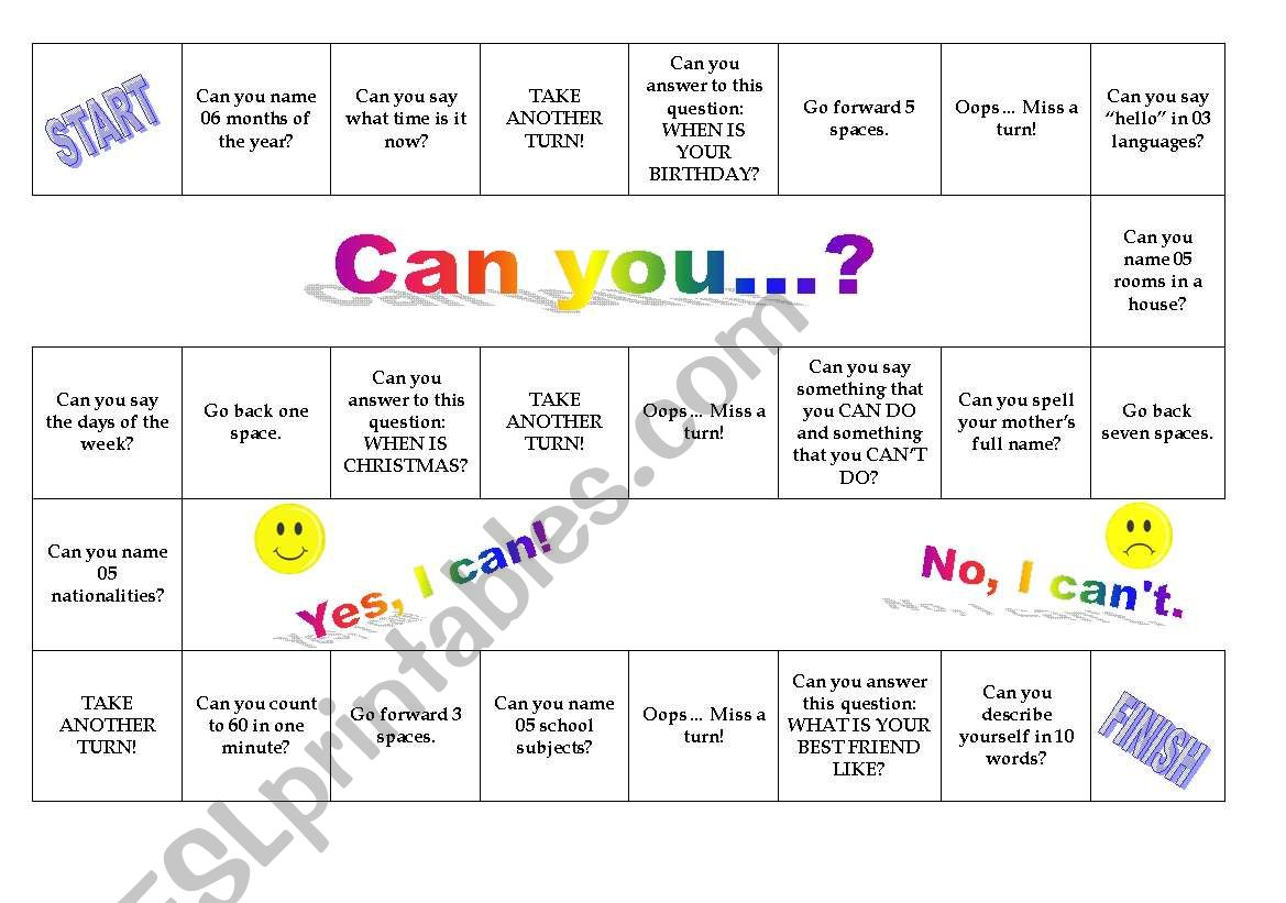 Board Game - Can you ...? worksheet