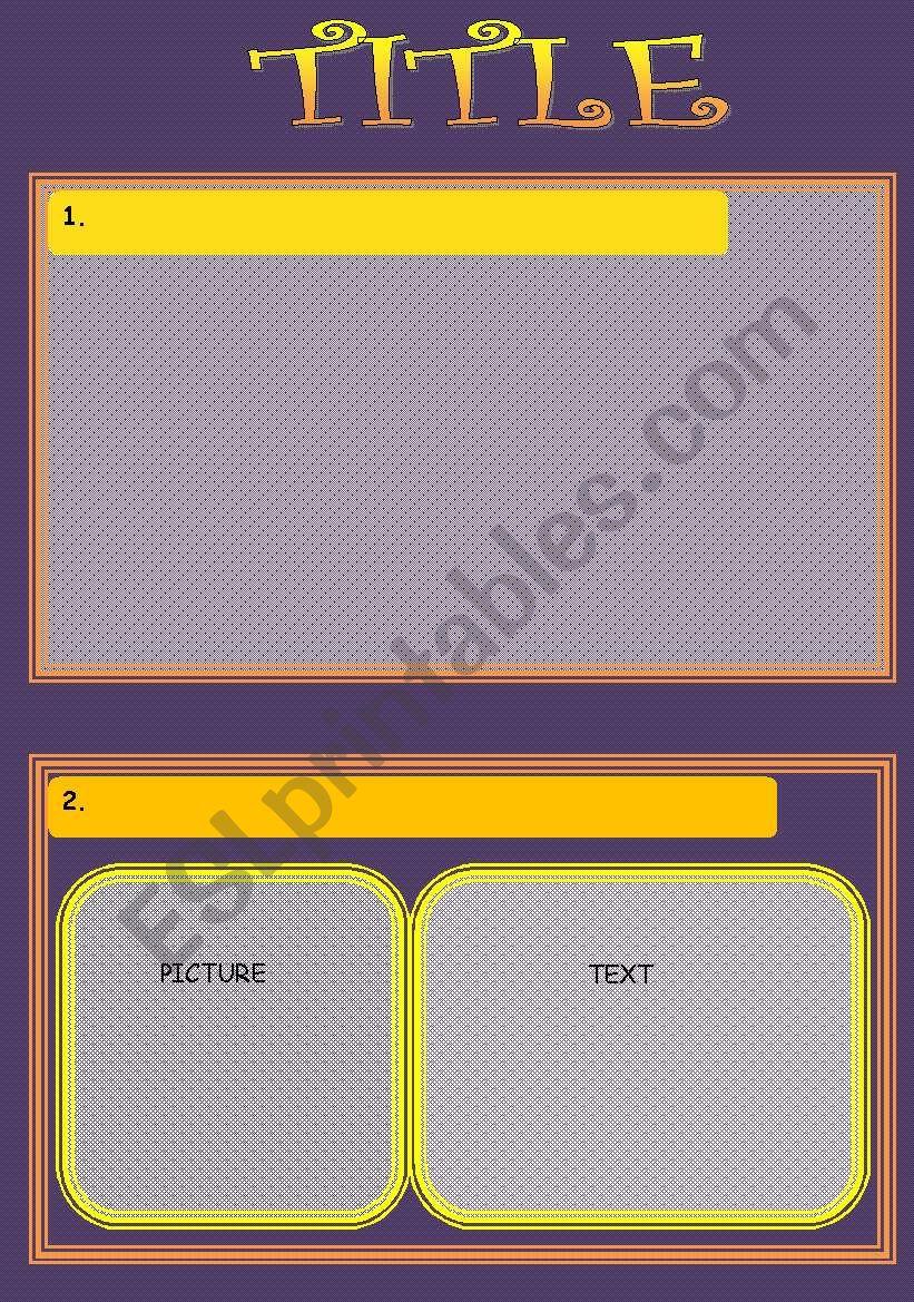 Yellow-purple template worksheet