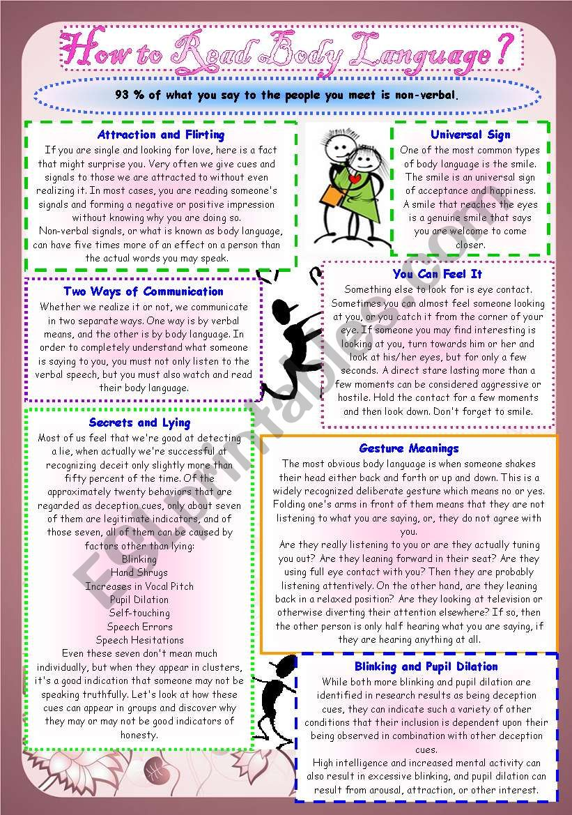 How to Read Body Language worksheet