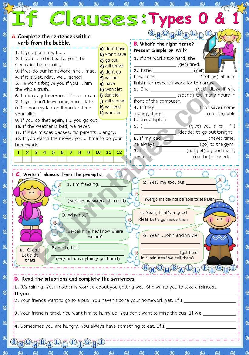 IF Clauses  -  Types 0 & 1 worksheet