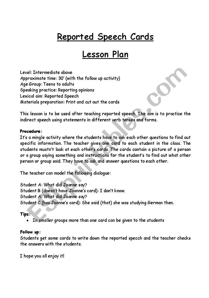 Reported speech card game worksheet