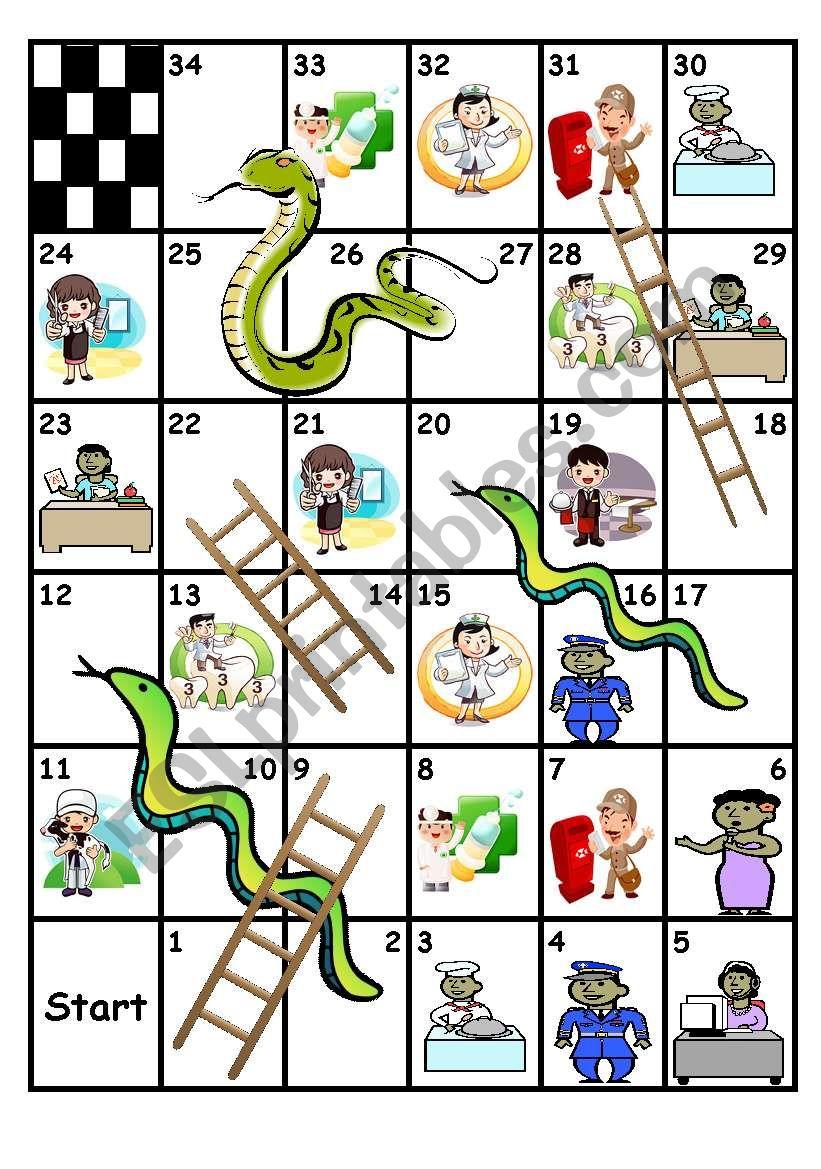 professions snakes and ladders esl worksheet by regina di. Black Bedroom Furniture Sets. Home Design Ideas