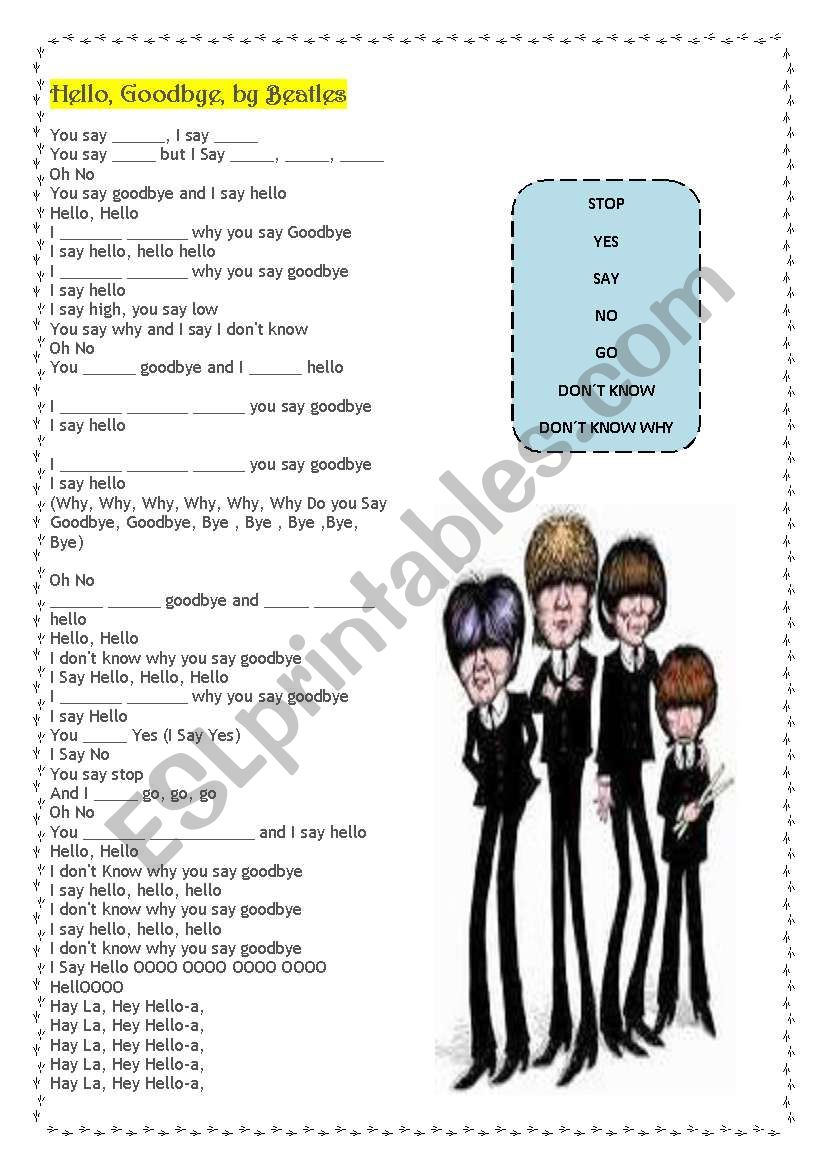 Hello, Goodbye,  Beatles worksheet