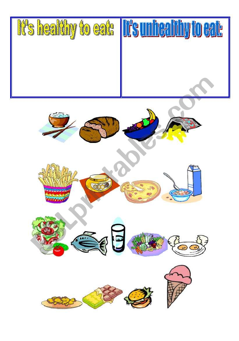 Healthy And Unhealthy Foods Worksheet Healthy Foods Posters