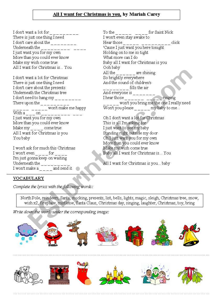 All I want for Christmas is you, Mariah Carey - ESL worksheet by ...