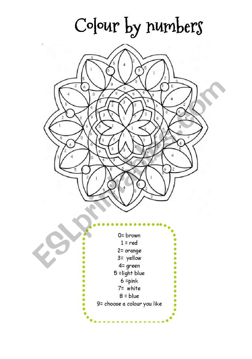 MANDALA COLOUR BY NUMBERS worksheet