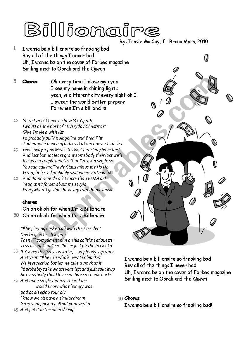 song: Billionaire, 3 pages worksheet