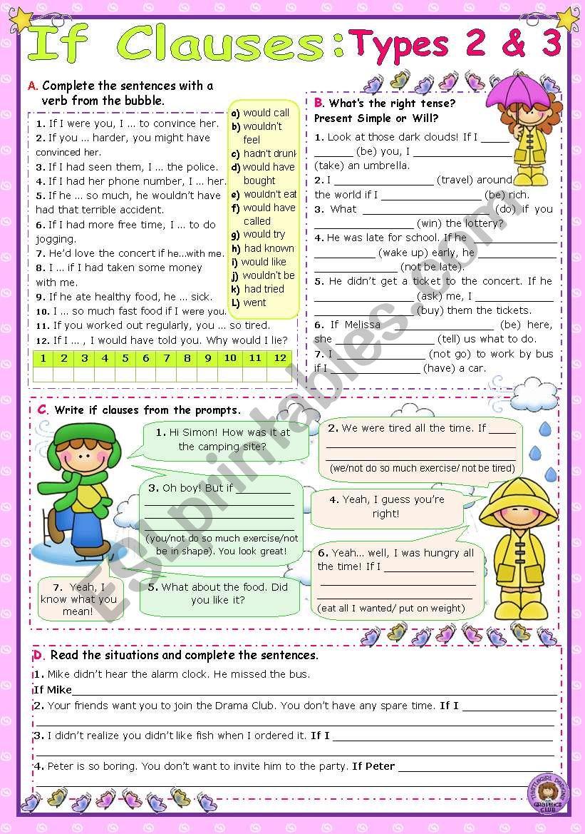 IF Clauses - Types 2 & 3 - ESL worksheet by mena22