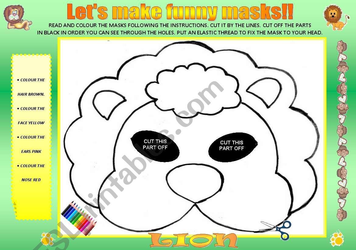 LET´S MAKE FUNNY MASKS!!!!!! worksheet
