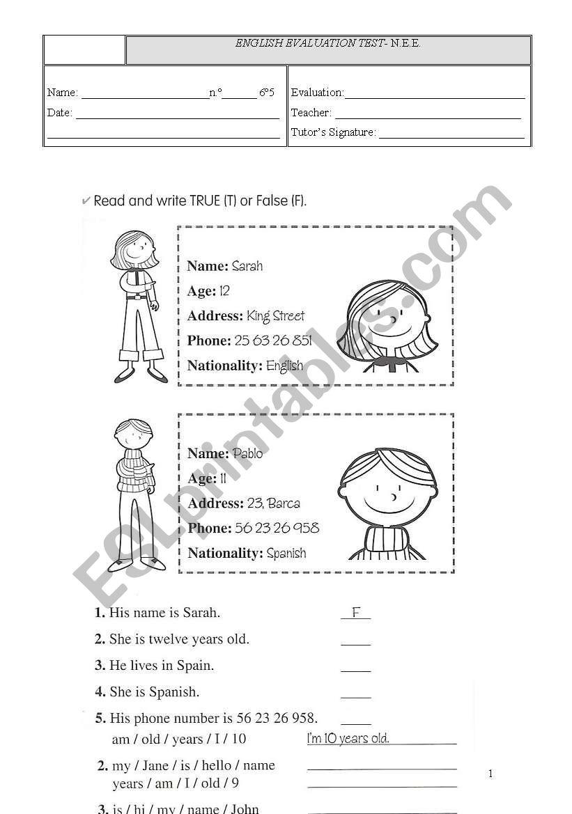 worksheet worksheet