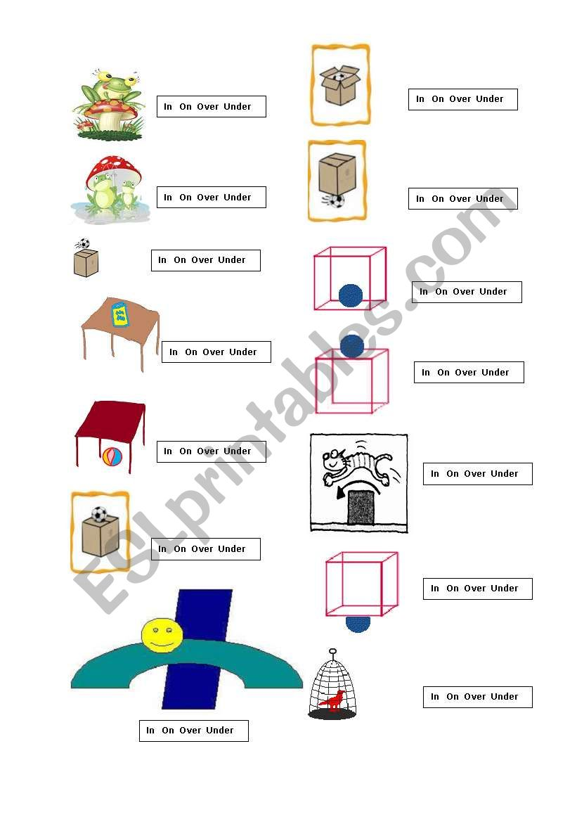 English Worksheets In On Over And Under
