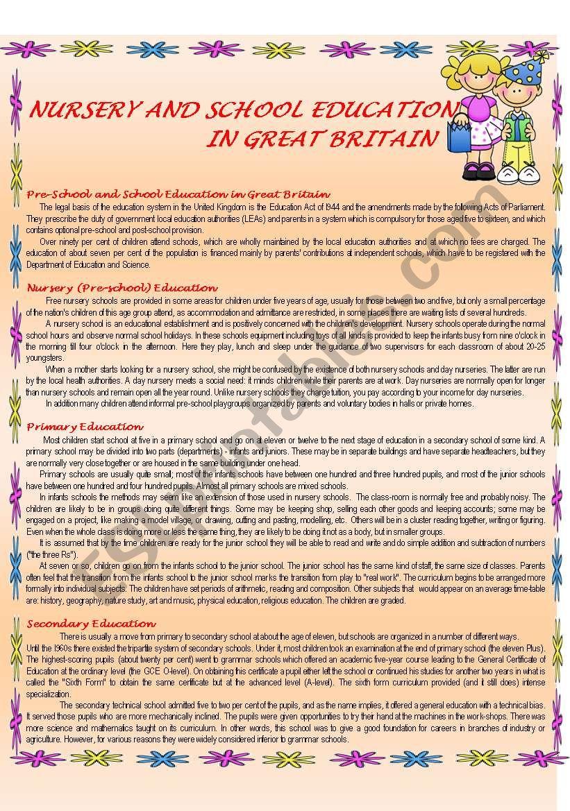 Schools in the UK worksheet