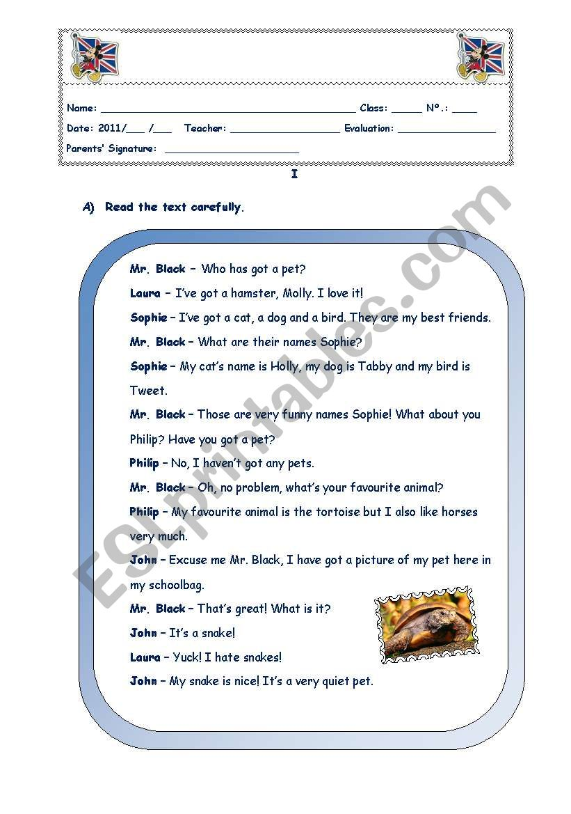 english test part 3 worksheet
