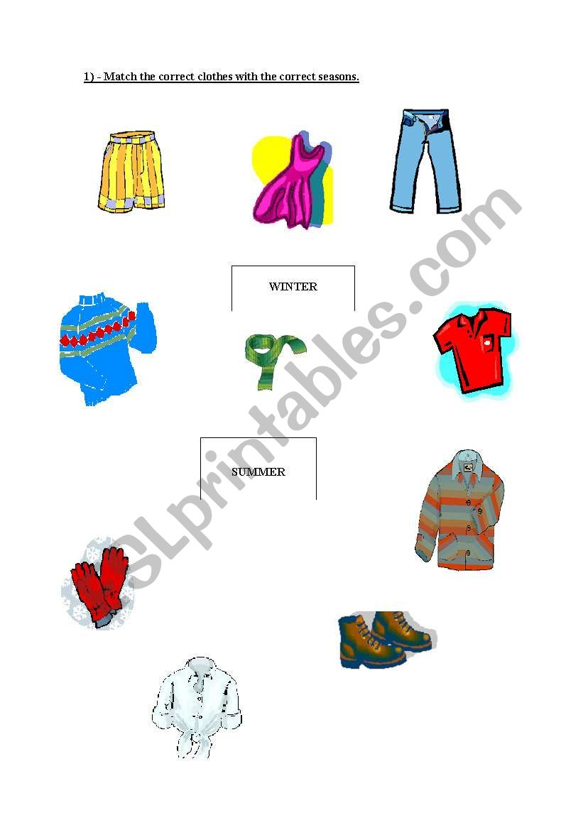 english worksheets matching clothes and seasons. Black Bedroom Furniture Sets. Home Design Ideas