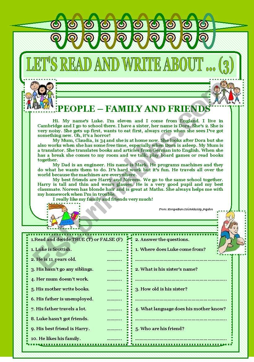 Let´s read and write about ... (3) - Family and friends.