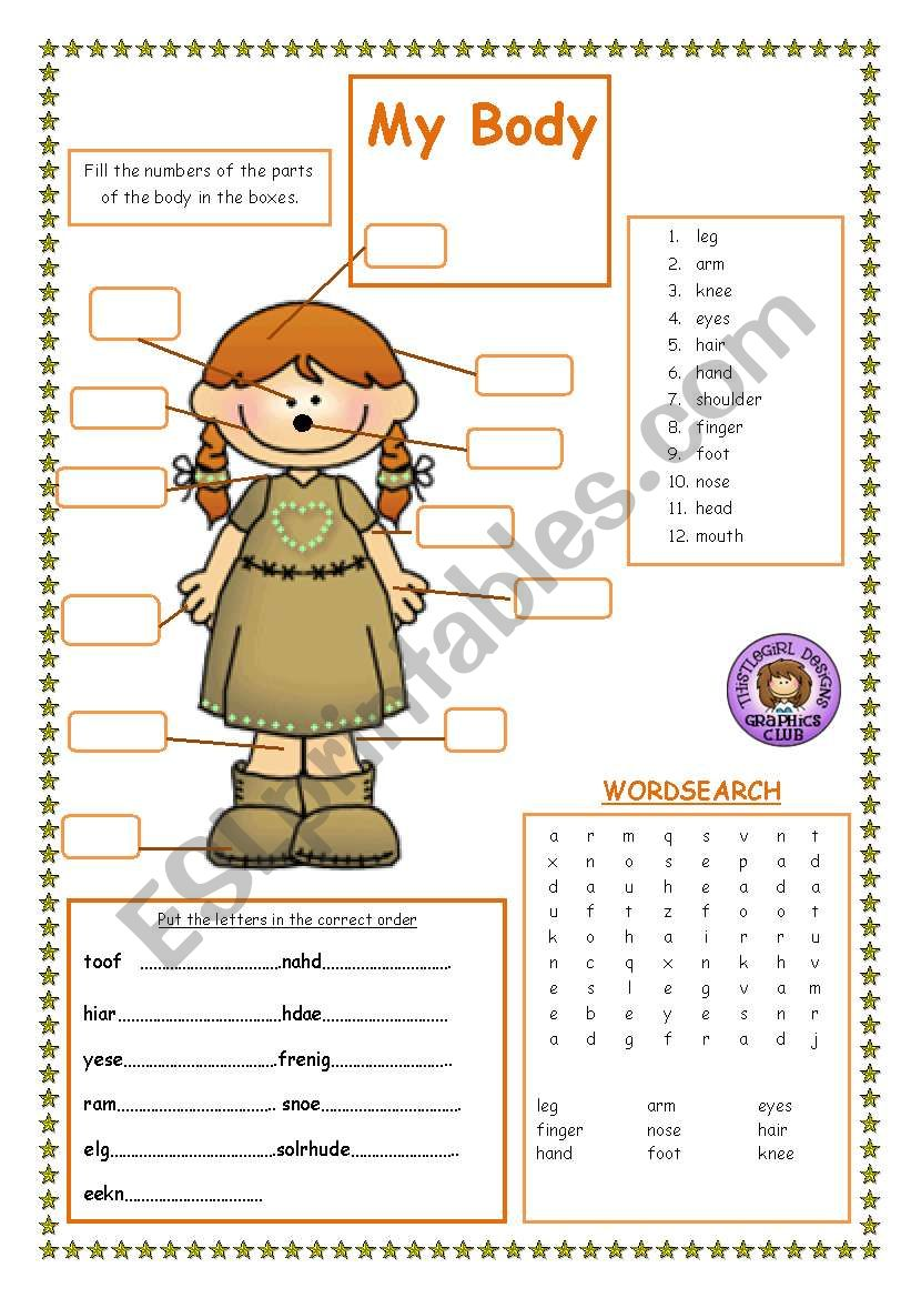 Parts Of The Body Esl Worksheet By Jackie1952