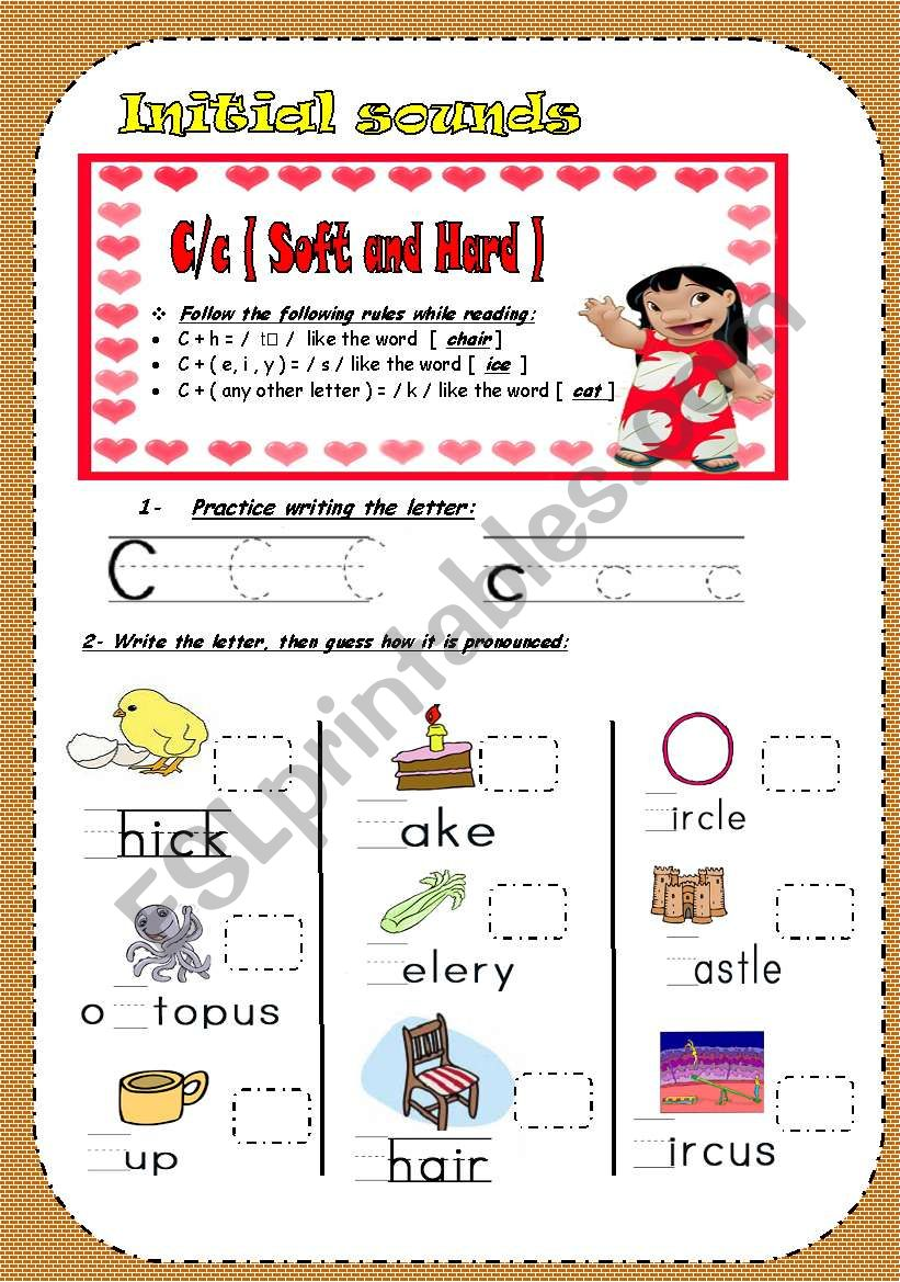 Hard and Soft ( c )/ Phonetics for young students.