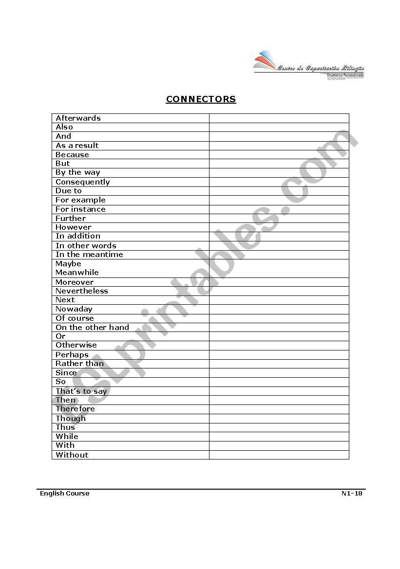 Connectors worksheet