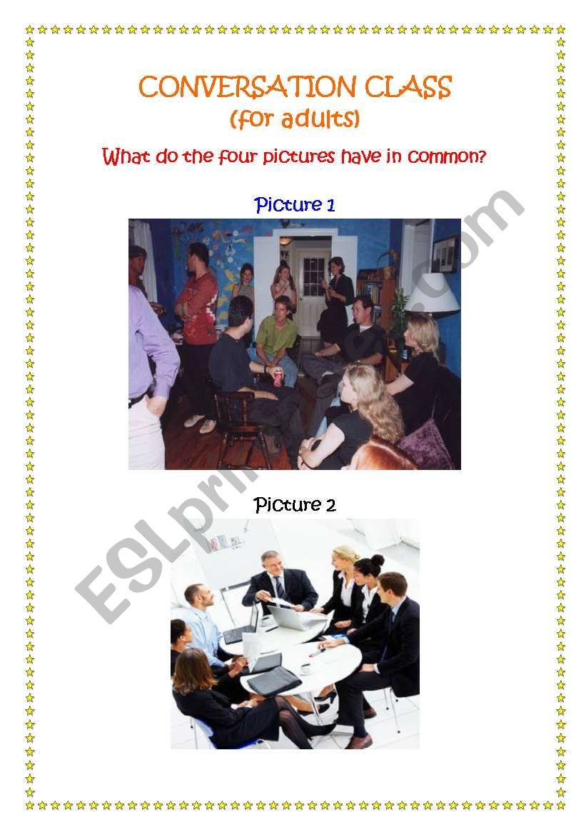 CONVERSATION CLASS (FOR ADULTS)