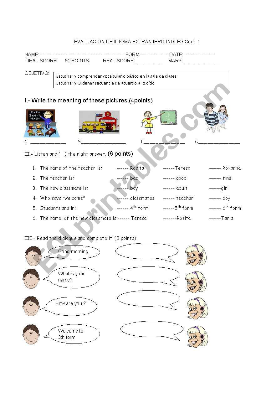 Classroom Instructions And Greetings At School Esl Worksheet By
