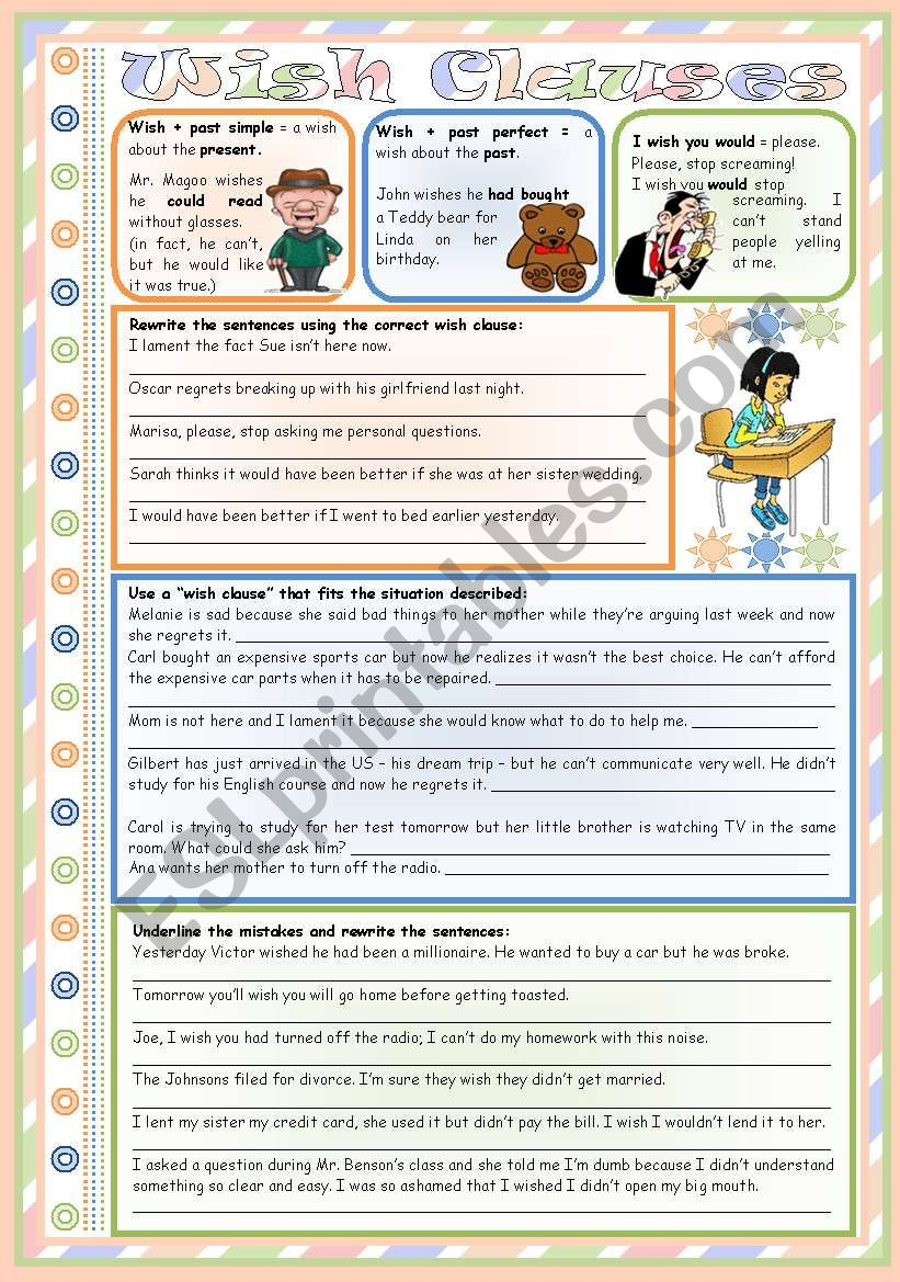 Wish Clauses – rules • 3 tasks • teacher's handout with keys • B&W version • 3 pages • editable