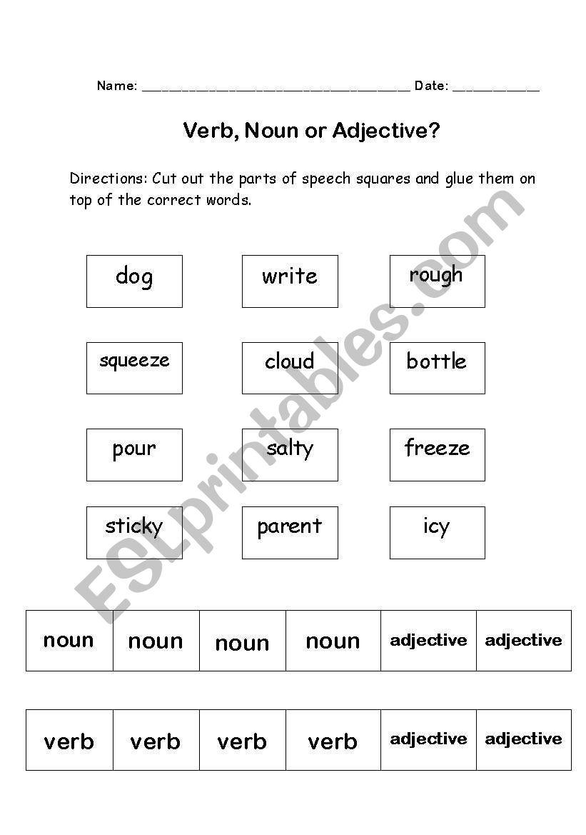 English Worksheets Grammar Cut And Paste Verb Noun Or