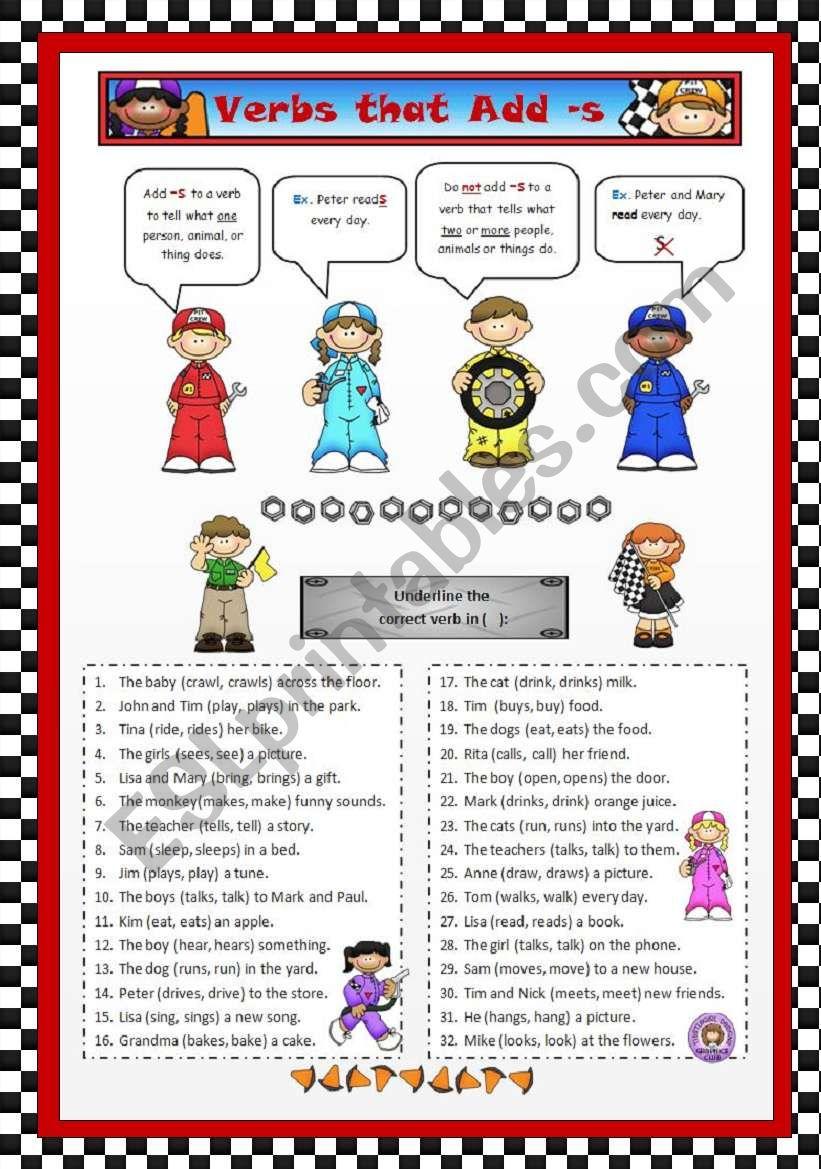 Verbs that Add -s worksheet