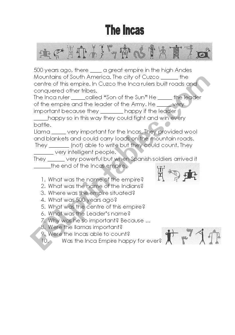 The Incas worksheet