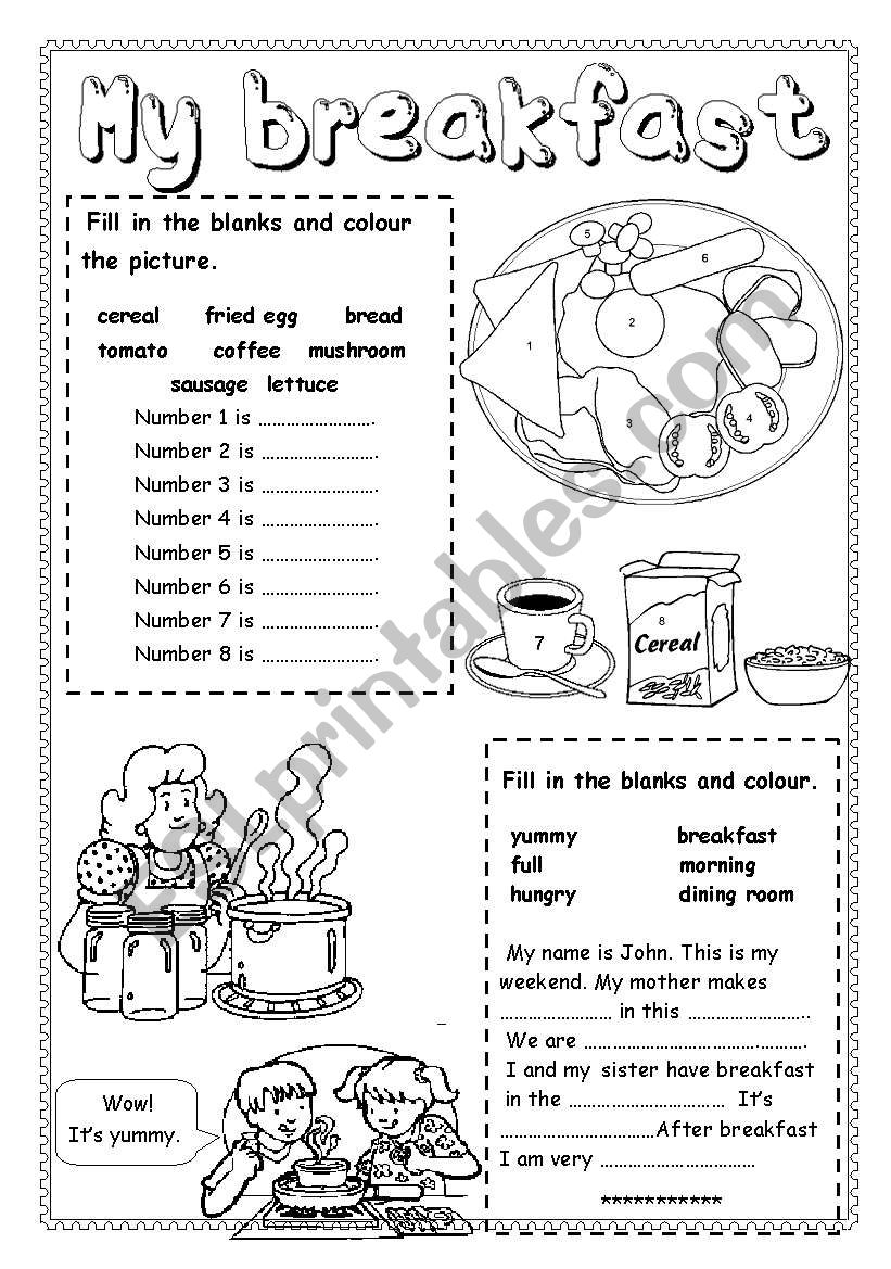 My Breakfast worksheet