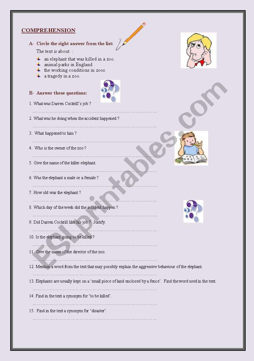 Killer Elephant READING + comprehension questions + KEY