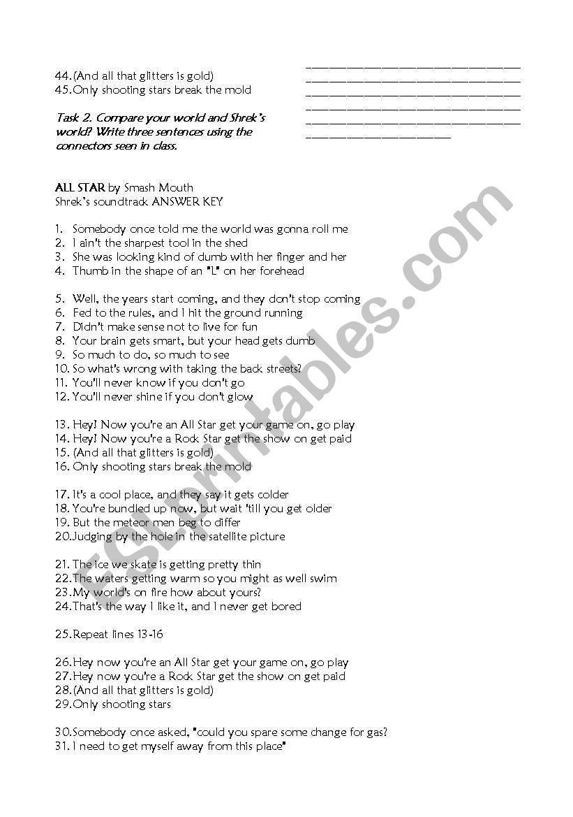 Song: All Star (Shrek´s sountrack) - ESL worksheet by NAJC