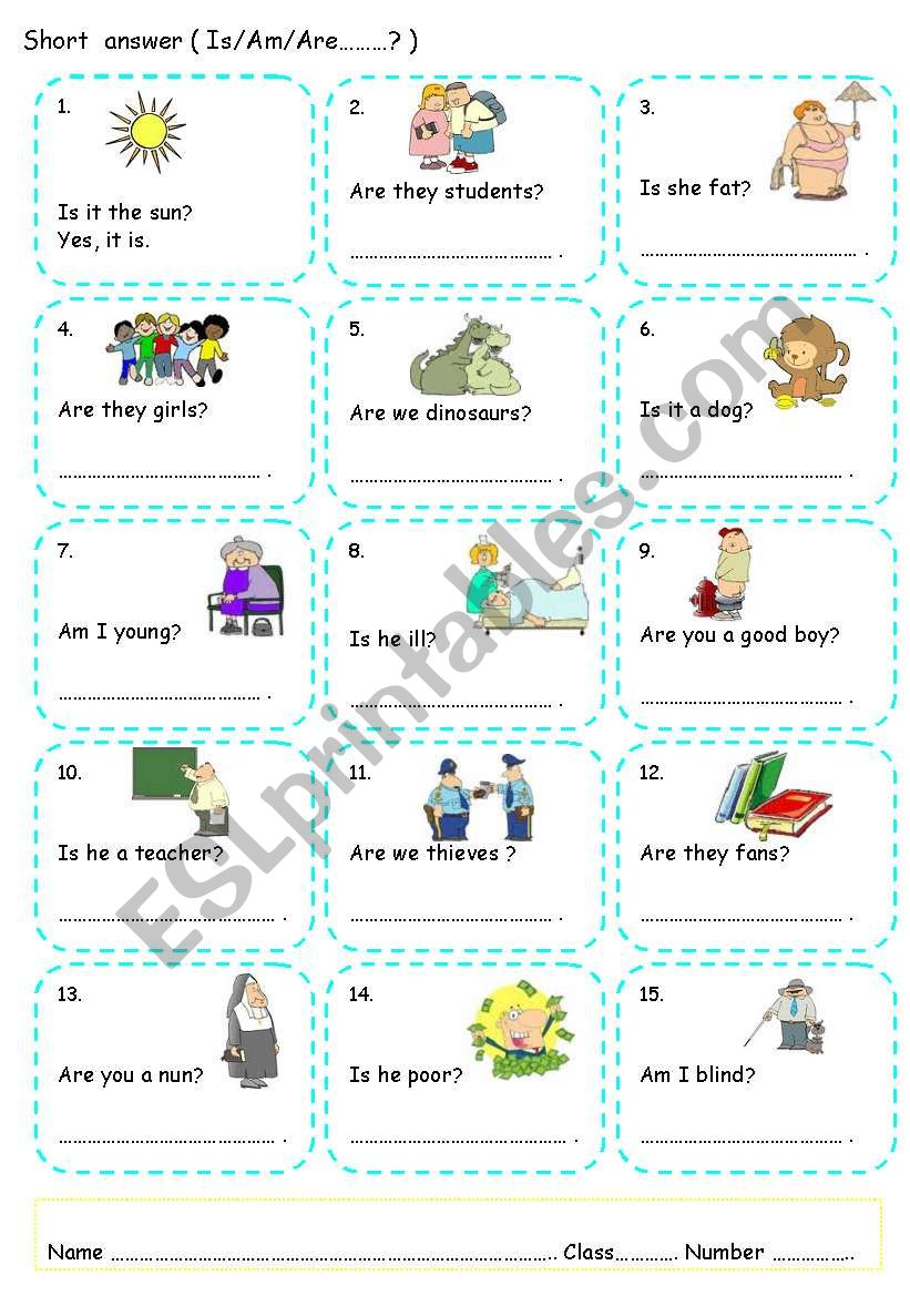 Determiners And Short Answer Verb To Be Can Esl Worksheet By