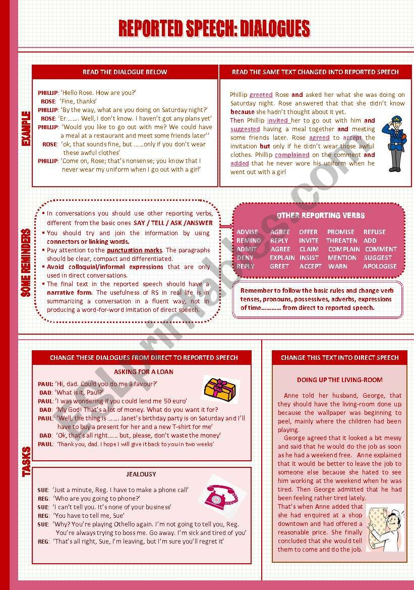 REPORTED SPEECH: DIALOGUES worksheet