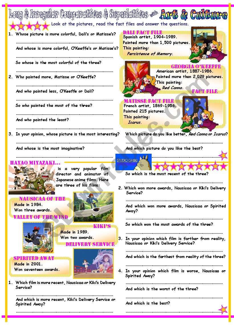 Comparatives & Superlatives with Long Adjectives & Irregular Adjectives, Art & Anime Films Theme, With Key