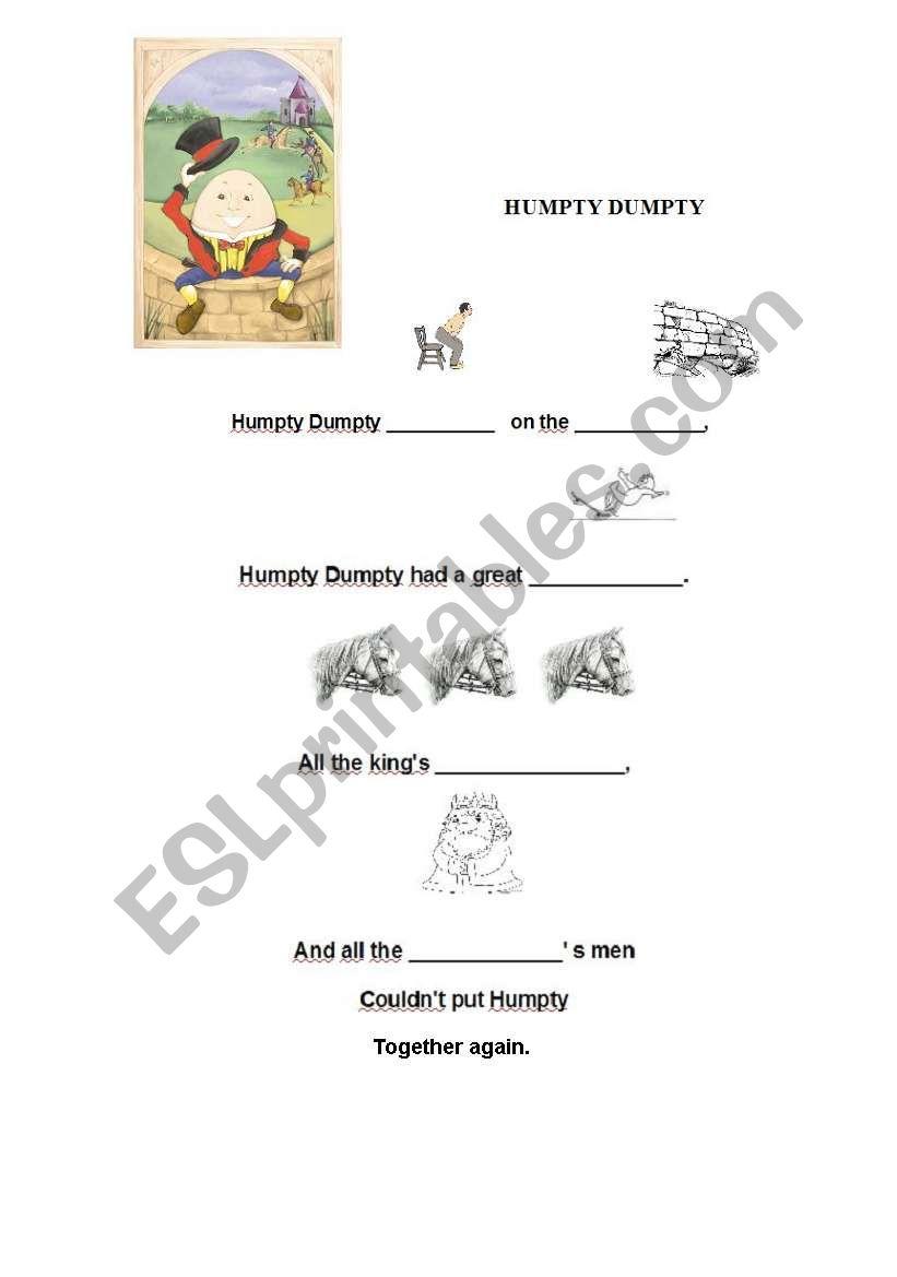 nursery rhyme, HUMPTY DUMPTY worksheet