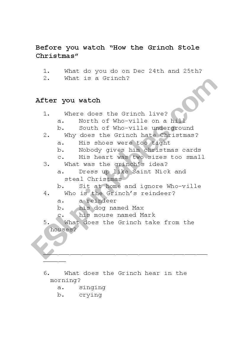 English Worksheets How The Grinch Stole Christmas Worksheet