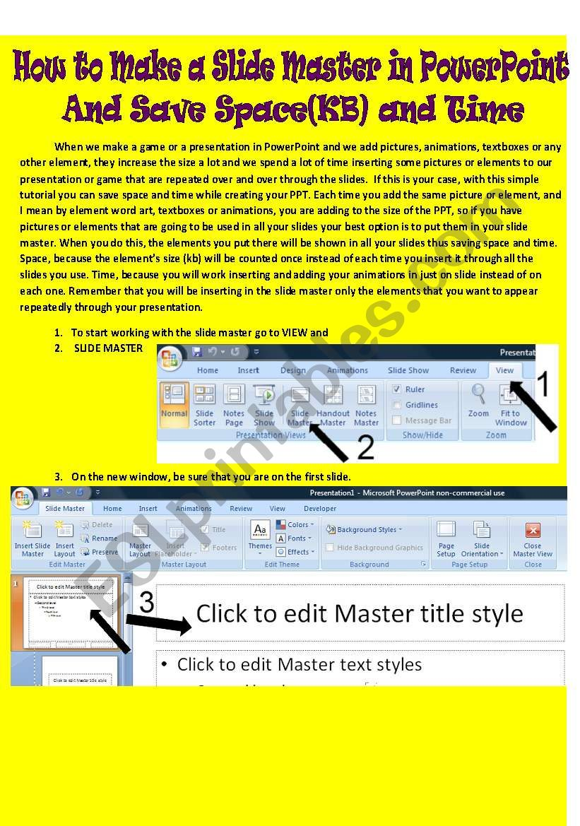 How to work with the slide master in ppt to save kb and time
