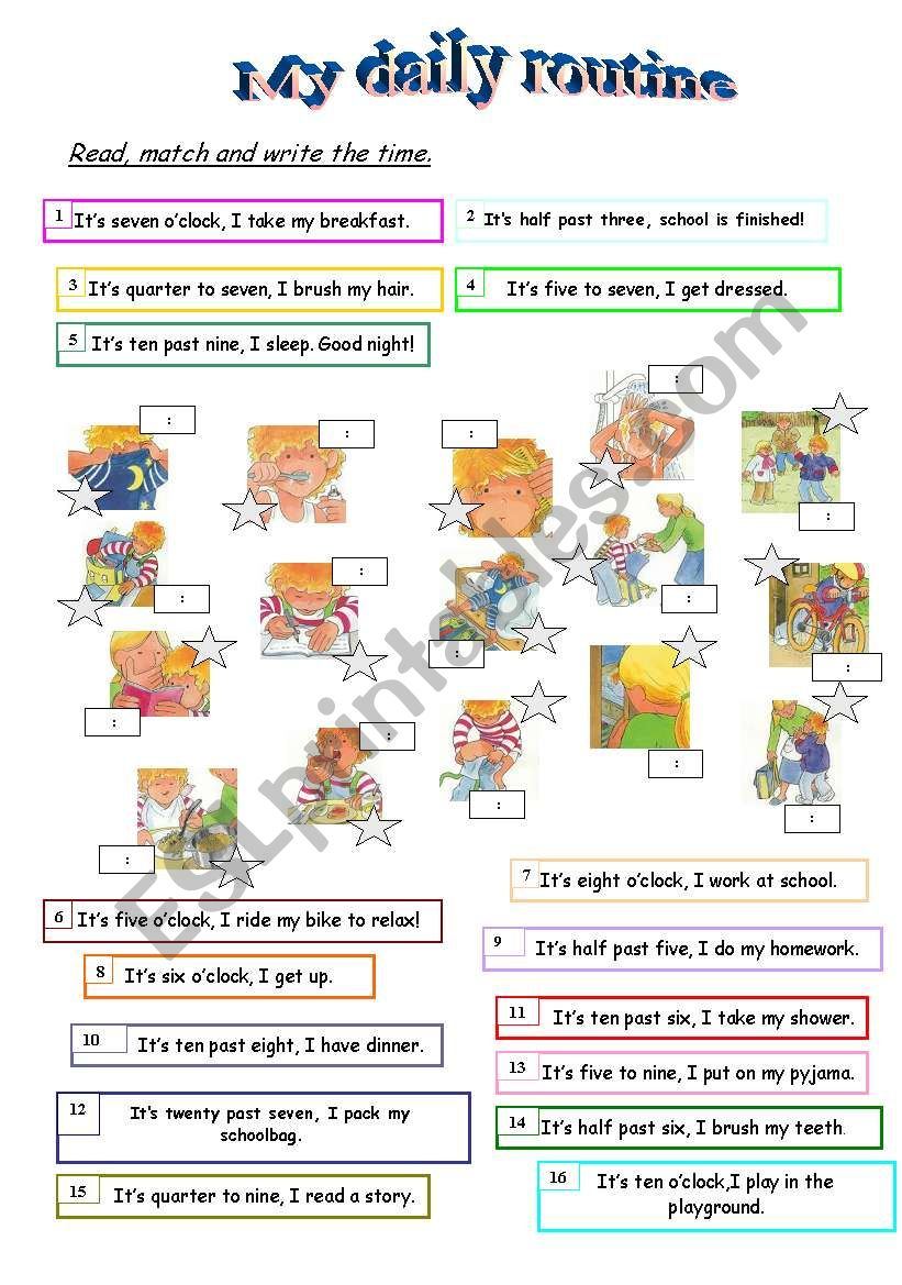 MY DAILY ROUTINE Worksheet worksheet