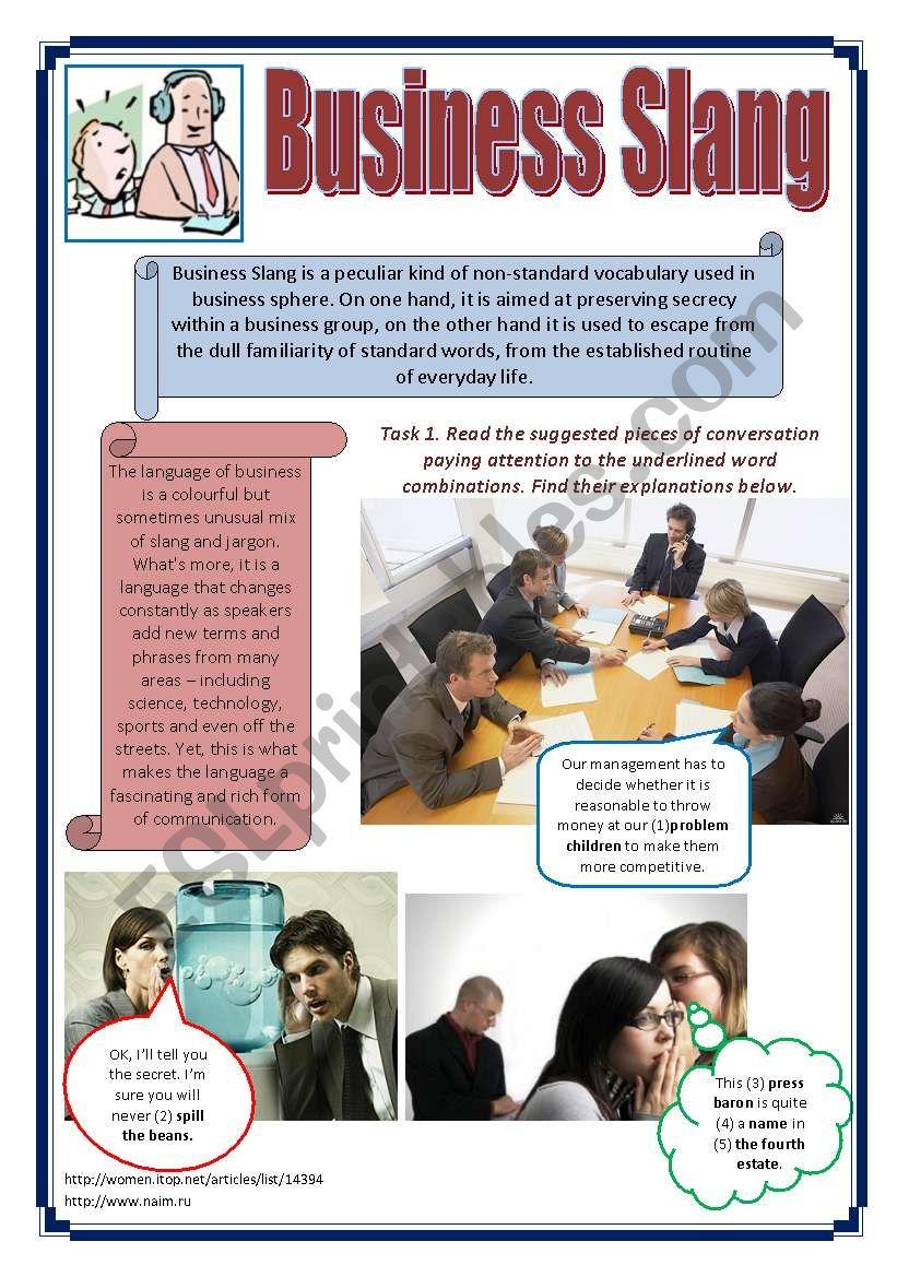 Business Slang worksheet