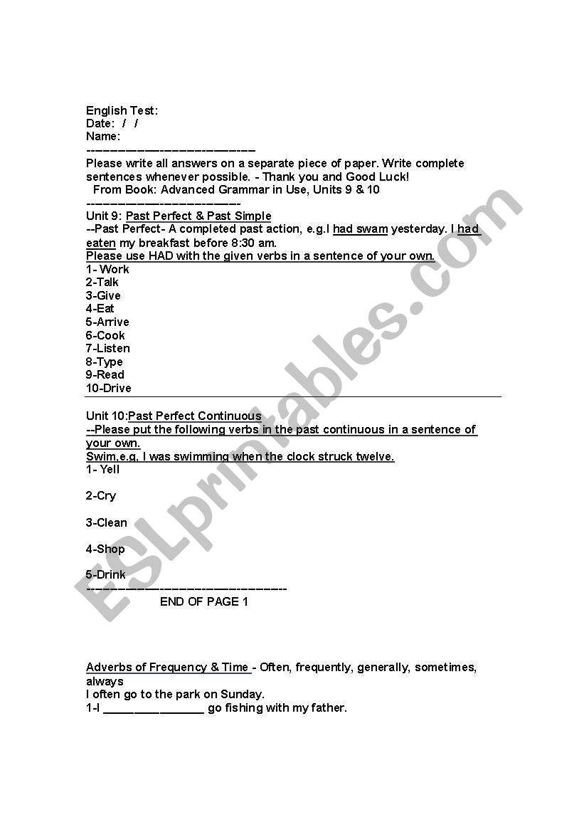 English worksheets: Intermediate English Test