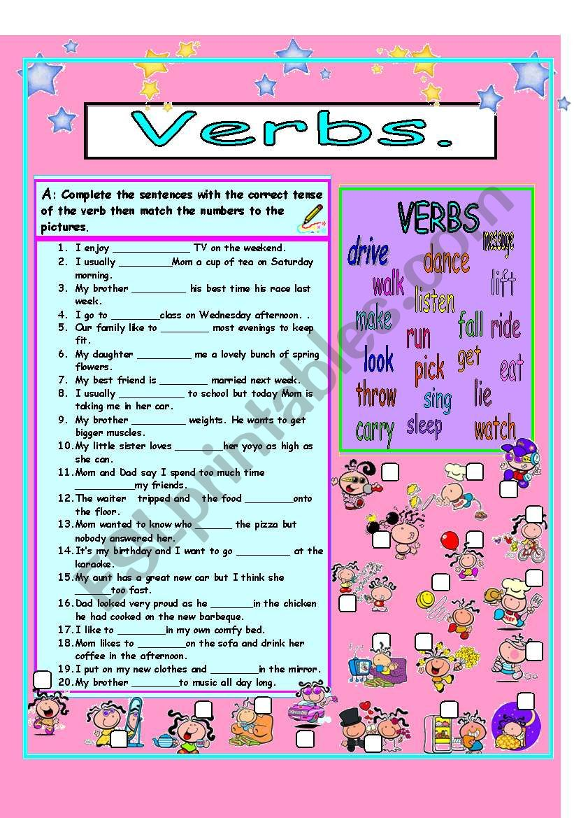 Verbs mixed tenses worksheet