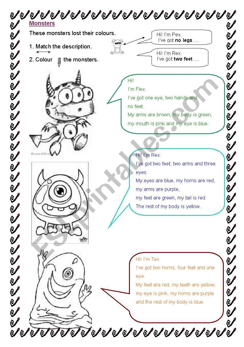Colour the monsters worksheet